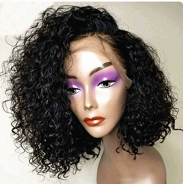 Brazilian tight curly lace front human hair wigs for black women 150%Density side part curly bob lace front human hair wig