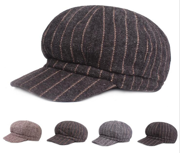 Hot Sale Unisex Hat Wool Stripe Berets Fashion Autumn Pumpkin Hats Casual Wild Japanese Literary Painter Artist Cap