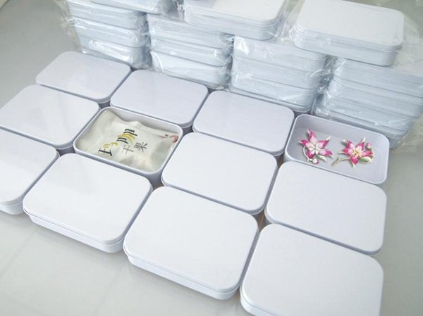 Free Shipping 110X80X25mm Rectangle white tea tin box mint pill candy jewelry storage box SN1089