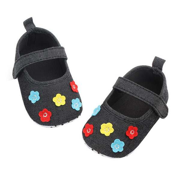 Spring Baby Girls Shoes Cotton Flower First Walkers Soft Soled Non-slip Newborn Footwear Baby Shoes Princess 0-12M