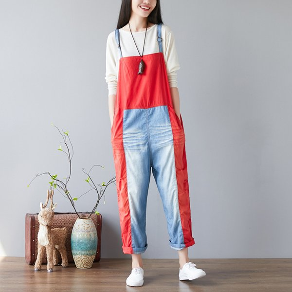 #0333 Rompers Womens Wash Jeans Jumpsuit Candy Color Split Joint Vintage Adjustable Strap Wide Leg Overalls For Women Streetwear