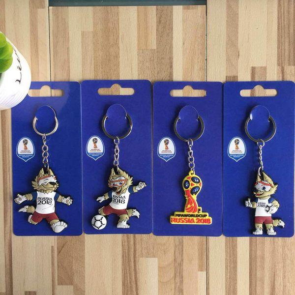 2018 New Football Keychain Football Team PVC Key Pendant Mascot Ornament Gift Trophy Car Keychain Kickball Sports