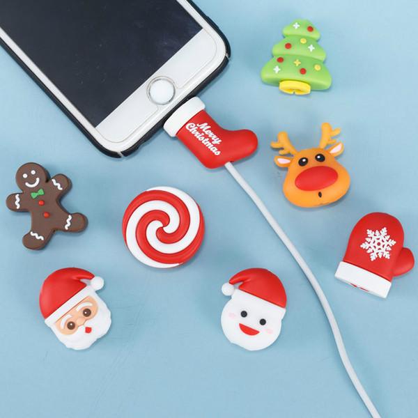 Protector de línea de datos de navidad para iphone Santa Snowman árbol de navidad cubierta de protección de cable usb devanadera de dibujos animados soporte para teléfono accesorio