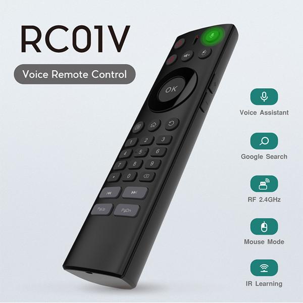 Akıllı tv için kızılötesi Ses Uzaktan Kumanda IR Öğrenme sahip Android TV Box klavye için 2.4G Kablosuz Ses uzaktan kumanda Hava Fare