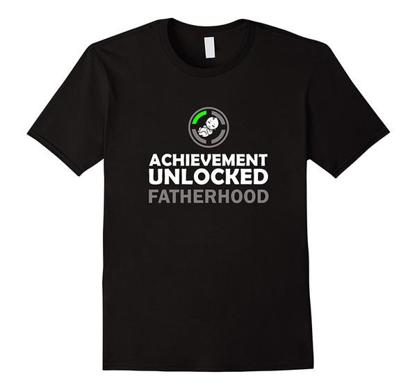 Uomo prima volta papà! Achievement Fatherhood sbloccato! Maglietta allentata nera Uomo T-Shirt Homme Tees Mens manica corta Tees