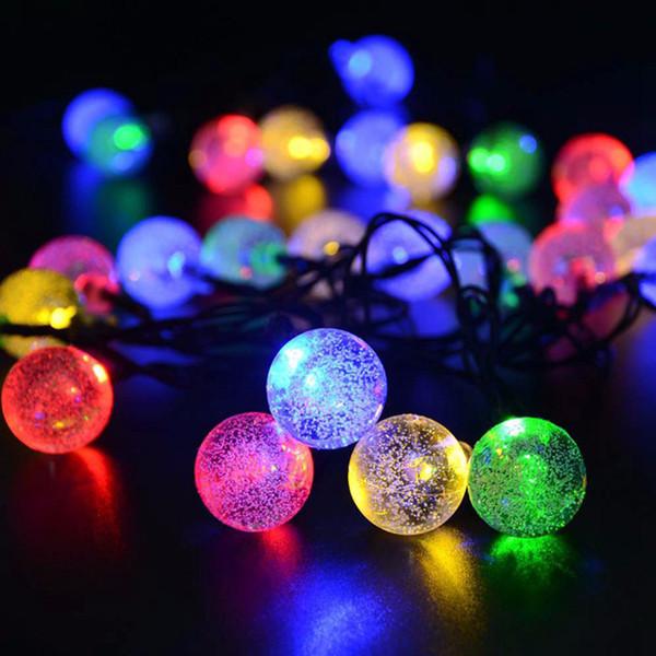 Kristal Top Güneş Açık Dize Işıklar, 30 LED 6.5 m Yıldızlı Su Geçirmez Noel Küre Dize Ampul Işık bahçe Dekorasyon
