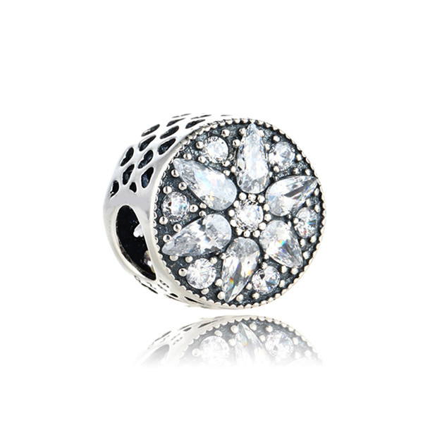 Authentic 925 Silver Beads Radiant Bloom Charm, Clear CZ Fits European Pandora Style Jewelry Bracelets & Necklace