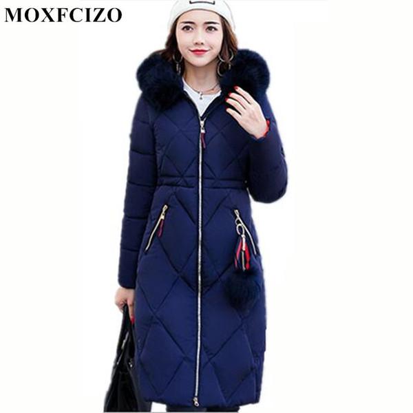2017 Winter Frauen Mit Kapuze Mantel Pelzkragen Verdicken Warme Lange Jacken frauen mantel mädchen lange dünne große pelzjacke Unten Parka