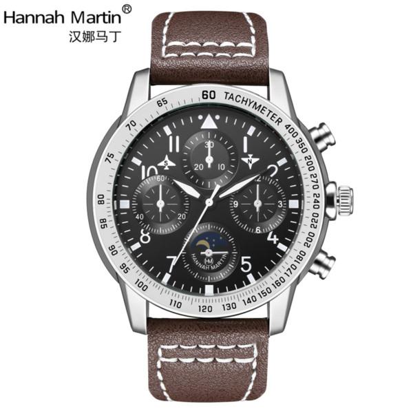 Imitation Flight Watches Men's Quartz Watch Male Waterproof Watch Top  Leather Strip Steel Table Digital Scale Clock Sport