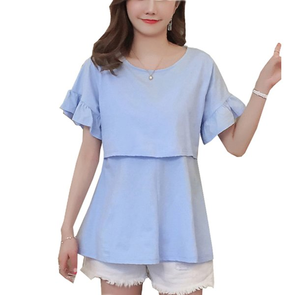 Summer Cotton Nursing Tops T shirt Plus Loose Cotton Solid Ruffles Sleeve Top for Pregnant Maternity Cute Clothes Pregnancy Tees