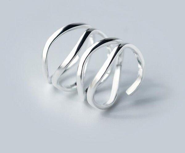 Nuevo Real. 925-Sterling-Silver Multi-Rows nudo trenzado Long Ring Band fiesta de joyería ajustable GTLJ1104 Y18102610