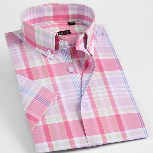 Contraste de manga corta en contraste de la tela escocesa de las camisas de los hombres cómodos Tops elegantes elegantes de la tela de algodón en bruto suave con mangas