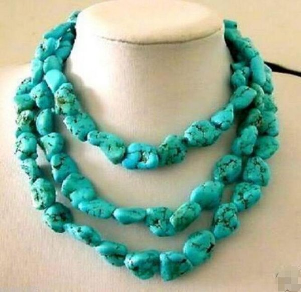 """Wholesale 100/""""inch long Natural irregular Turquoise bead Jewelry Necklace"""