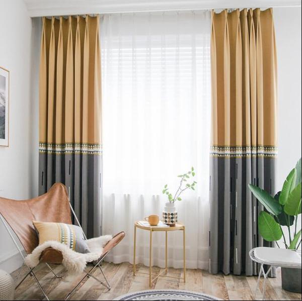 Estilo do Norte europeu Splice Bordado cortinas de linho para o quarto Imitação cinza amarelo cortinas geométricas para sala de estar