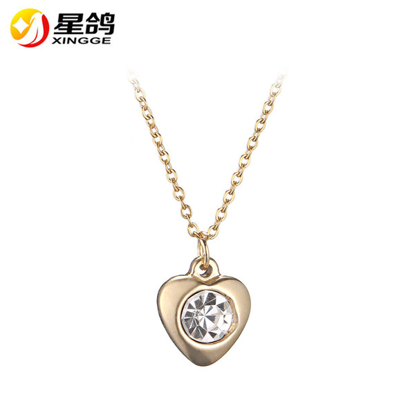 Trendy Tiny Heart Pendant Necklace for Women Silver/Gold Color Stainless steel heart necklace with Zircon Gifts Bijoux Fashion Jewelry