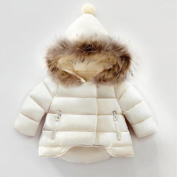 Meninas Casaco de Inverno 2018 Novo Inverno Meninas Do Bebê Parkas Jaqueta para a Cor Sólida Casaco De Pele De Bebê Com Capuz Crianças Outerwear