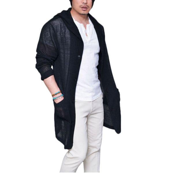 new style men's hooded jacket cardigan thin long sleeve knit slim pocket windbreaker jacket men's wear