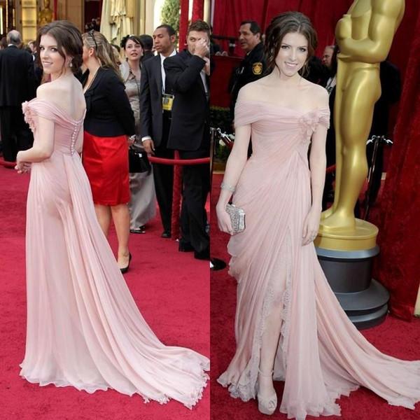 Pink Elie Saab Evening Dresses Celebrity Gowns Off Shoulder Chiffon Lace Side Split Fomal Dress Flower Ruched Red Carpet Dresses Button Back
