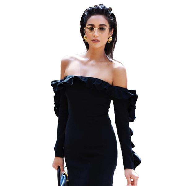 Sexy Women Slash Neck Bodycon Mini Dress Off Shoulder Ruffle Long Sleeve Pencil Dress Bandage Clubwear Party Dress Black Vestido