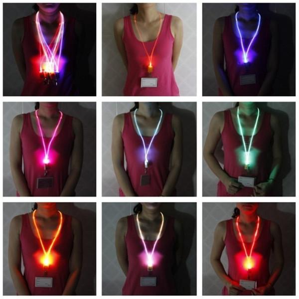 Luminoso LED Lanyard Novedad Iluminación LED Fibra óptica Acollador luminoso Tarjeta de trabajo Cuerda para colgar Luz Sonrisa Cara LED Cordón + Tarjeta