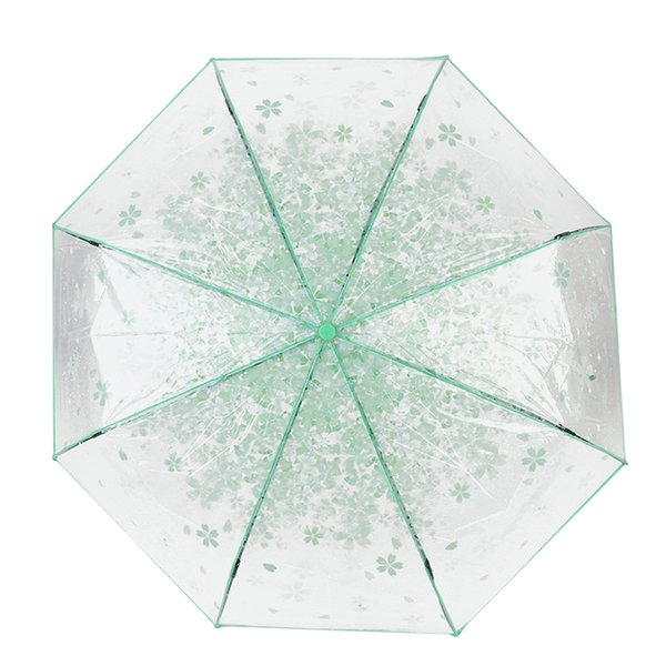 Transparent Clear Cherry Blossom Mushroom Apollo Sakura folding Sunshade Rain 3 Fold Umbrella New