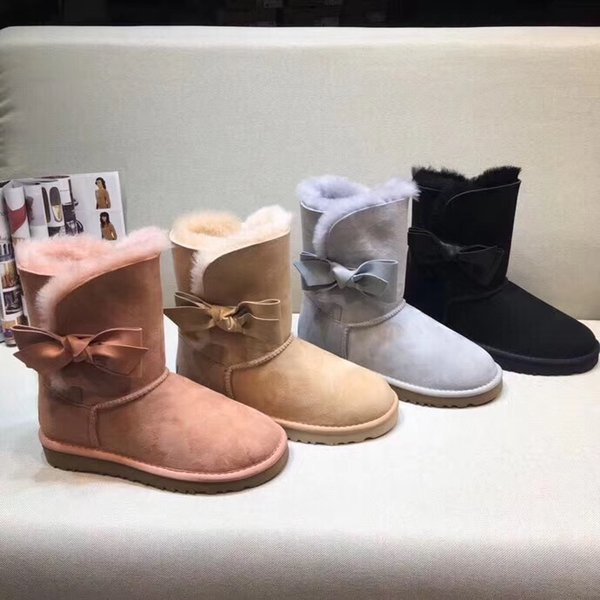 2018 brand new top quality brand leather with fur boots original design women shoes for winter water proof snowboot with box dust bag
