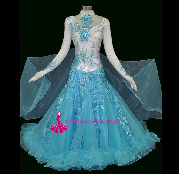 High Quality Ballroom Competition Dance Dresses Sky Blue Modern Waltz Tango Standard Ballroom Dance Costume