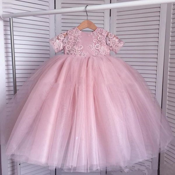 Princess Lace Flower Girl Dresses For Wedding Pink Appliques Short Sleeves Girl Pageant Gowns Tulle Tutu Skirt Kids Party Ball Gowns