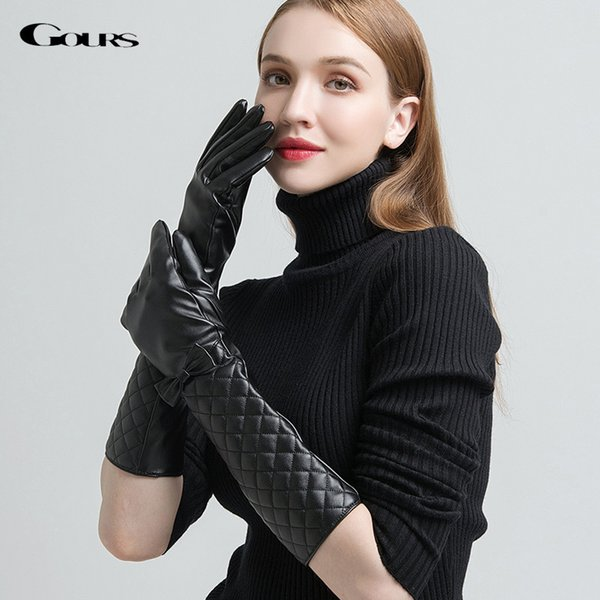 Gours PU Leather Gloves for Women Fashion Brand Black Touch Screen Long Finger Gloves Bow-knot Warm In Winter New Arrival GSL043