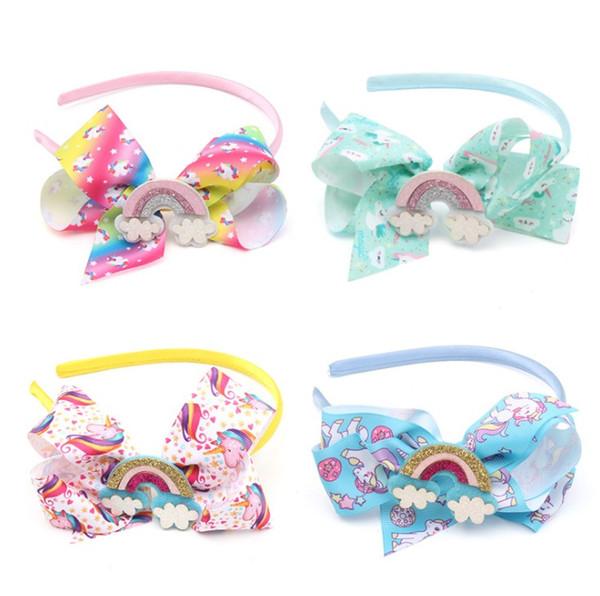 Cartoon Kids Girls Hair Accessories Fashion Unicorn Rainbow Butterfly Children Hair Sticks Cute Anime Printed Bows Girl Hairbands C4165