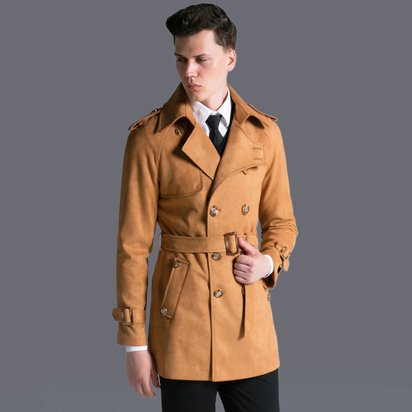 Free Shipping Autumn And Winter New Men's Double Breasted Jackets Coats Deer Velvet Long Trench Coat Men Plus Size Outerwear