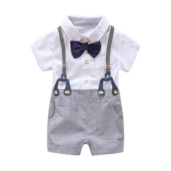Abiti da cerimonia estivi per neonato Neonato Set Fiocco Compleanno Ragazzi Tuta Completo Camicia bianca pagliaccetto Toddler Gentleman Outfit