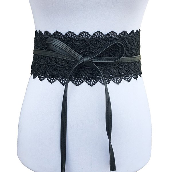 Winfox Vintage Black Yellow White Elastic Wide Corset Belts For Women Female Lace Waistband Belts