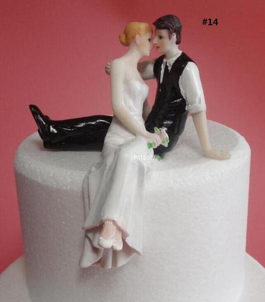 Wedding Cake Topper Funny Bride And Groom Romantic Couple Figurine Resin Dolls Wedding Cake Decorations Wedding Supplies Unique Design