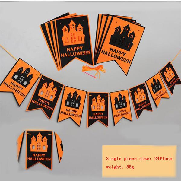 Cadılar bayramı Partisi Dekorasyon Kiti, Turuncu Siyah Kabak Kağıt Garland Fener Lamba Doku Kağıt Pom Poms Çiçekler Hal için Mutlu Cadılar Bayramı Afiş