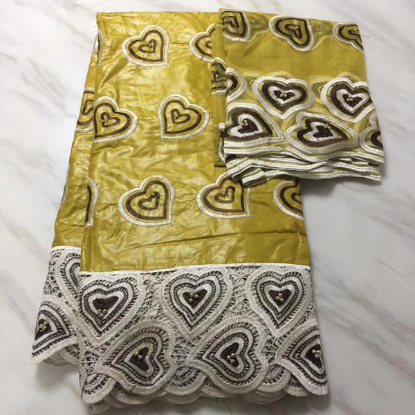 TP1063 Ücretsiz kargo (5 + 2 yards / set) harika işlemeli boncuk ile Afrika bazin dantel kumaş artı parti elbise için Fransız dantel
