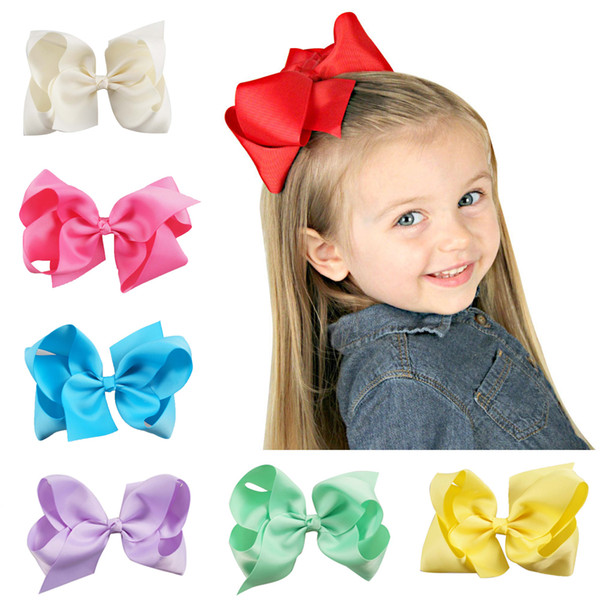 best selling 6 Inch Big Grosgrain Ribbon Solid Hair Bows With Clips Girls Kids Hair Clips Headwear Boutique Hair Accessories