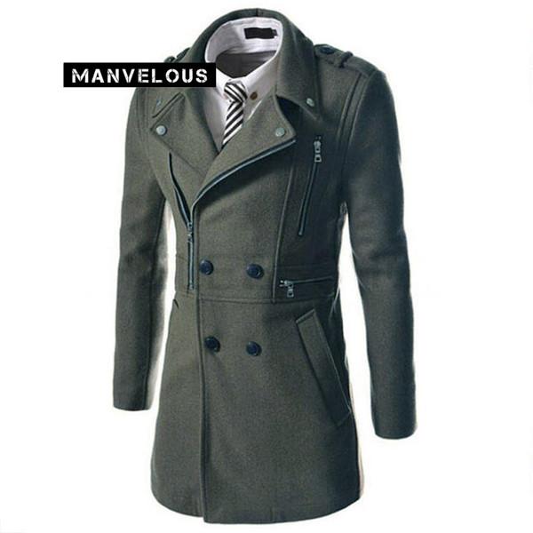 Manvelous Long Casacos Homens Moda Casual Fino Sólidos Com Zíper Botão Bolso Lapela Misturas De Lã Mens Designer Inverno Trench Coats