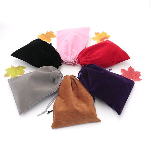50pcs/bag Jewelry Packing Velvet bag 15x20cm packaging bags Drawstring Gift bags & Pouches Customized Logo Over 100pcs Cost More