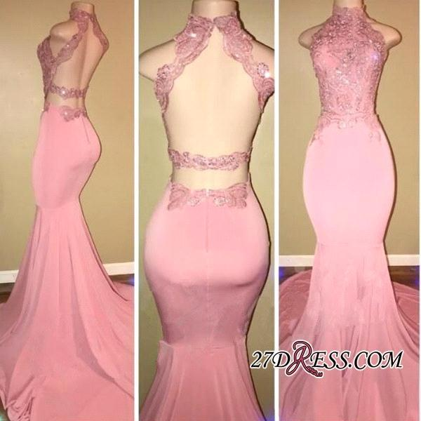 2018 Real Images Pink Open Back High Neck Prom Dresses Long Mermaid ...