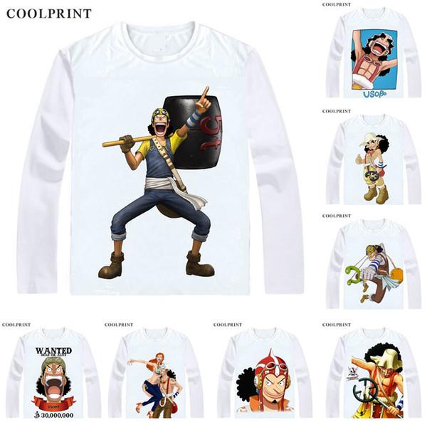 COOLPRINT ONE PIECE T-Shirts Long Sleeve Shirts Anime Manga Wan Pisu Straw Hat Pirates Usopp Sogeking King of Snipers Usoppu Cosplay Shirt
