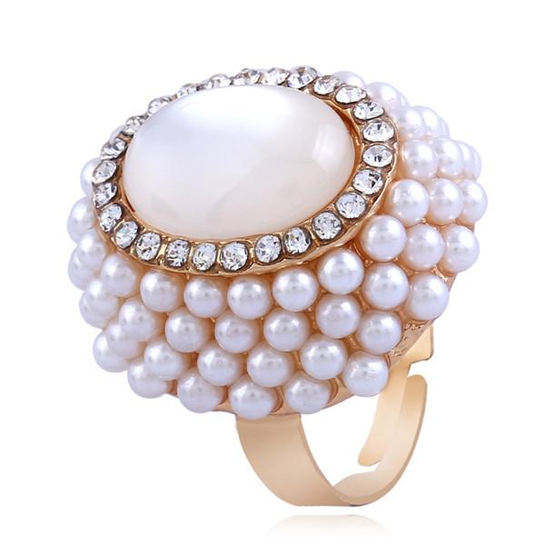 CHAOMO 인기 패션 인덱스 손가락 보석 숙녀 오픈 진주 오팔 반지 공장 도매