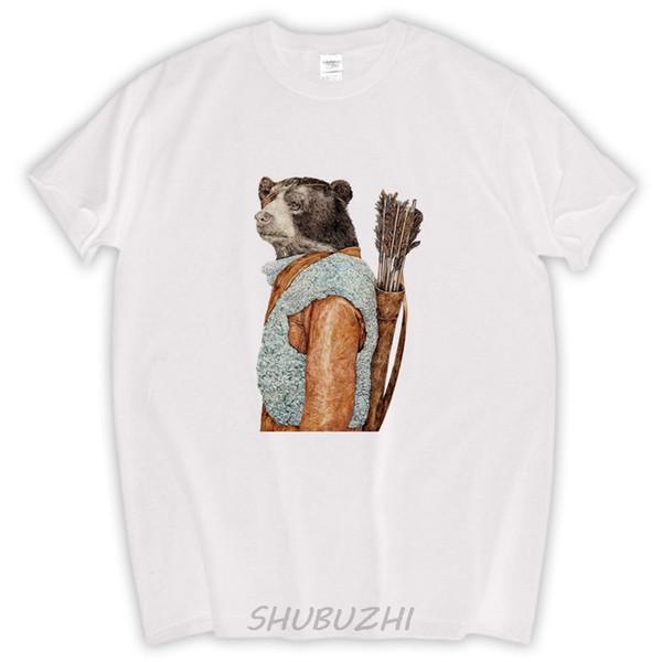 HUNTER Fine Art Impressão Urso Ilustração Urso Cartaz t shirt Meninos Arte Da Parede Animal Impressão masculina de algodão t-shirt