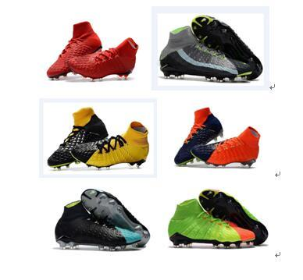 2018 mens soccer cleats hypervenom phantom ii iii leather FG high top football boots neymar indoor soccer shoes high quality