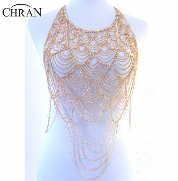 vendita all'ingrosso Full Metal Body spalla catena d'oro a strati Europa Nappa Bib Collana Bikini Harness Belly Dress Jewelry BSN205