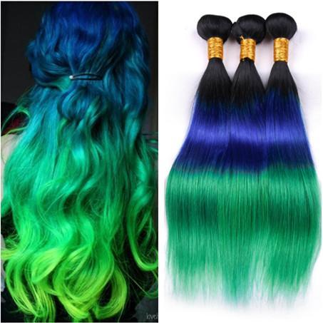 Three Tone #1B/Blue/Green Ombre Brazilian Virgin Human Hair Bundles Deals 3Pcs Lot Silky Straight Human Hair Weaves Weft Extensions