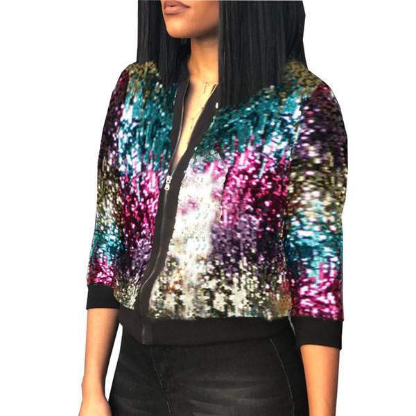 2018 Outono Inverno Jaqueta De Lantejoulas Womens Sparkly Bomber Jacket Três Quater Manga Zipper Glitter Streetwear Moda Jaquetas Casaco