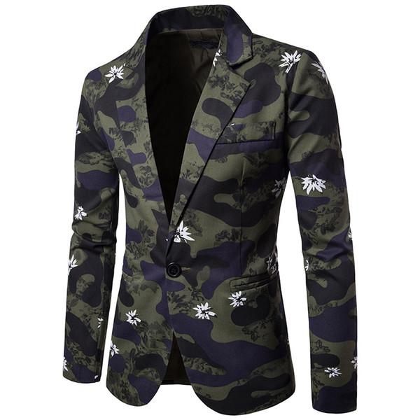 Левый ПЗУ 2018 новый продукт полноценный мужской тонкий корпус печати с длинным рукавом пиджак/мужской досуг хлопок с длинным рукавом костюм 2XL