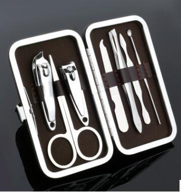 Simples e Moda Prego Set Tesoura Banhado A Ouro 7 pçs / set de Unhas De Arte De Tesoura Set Prego conjunto de Manicure