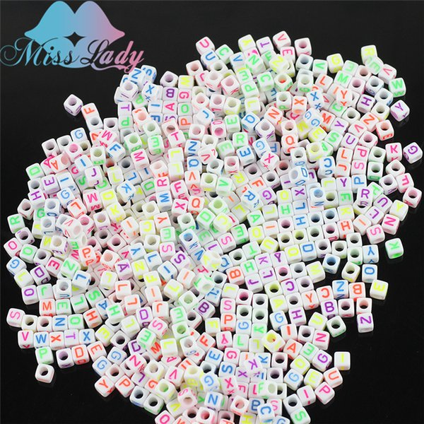 Miss Lady 1000 pcs 10packs/lot Light Glow in the night Bracelet Charms For DIY Bands Cube  Acrylic  Band MLZ04